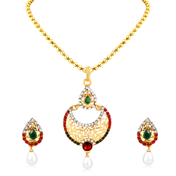 Ritzy Gold Plated Pendant Set For Women