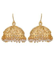 Buy Sober White Gold Pearl Reception Jhumki Earrings jhumka online