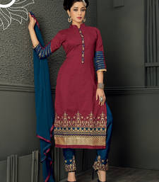 Buy maroon embroidered chanderi semi stitched salwar with dupatta cotton-salwar-kameez online