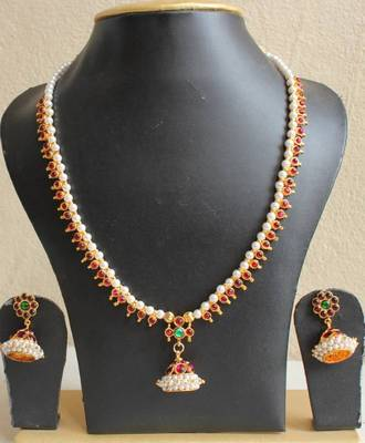 Beautiful Pearl Temle Jewel Jhumka Pendant Necklace Set