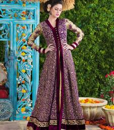 Buy purple net embroidered semi stitiched salwar with dupatta party-wear-salwar-kameez online