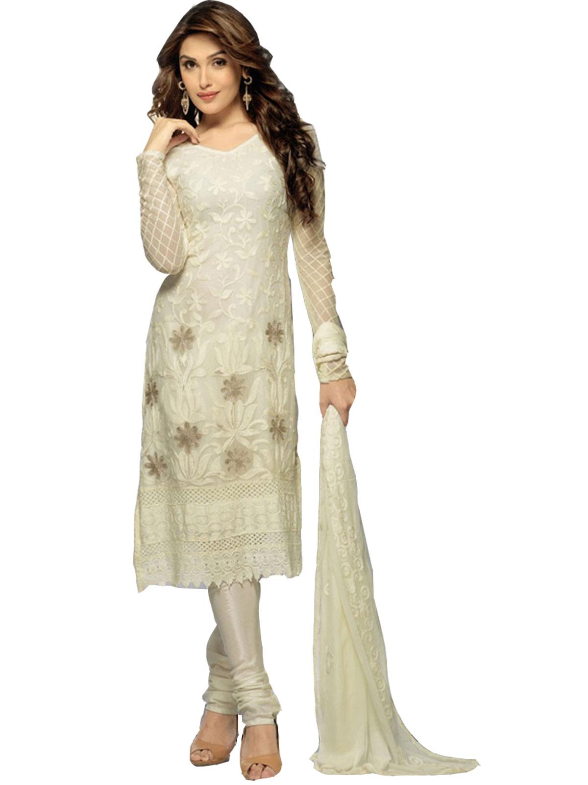 b583ef8fb81 Shreeji fashion white embroidered chiffon unstitched salwar with dupatta
