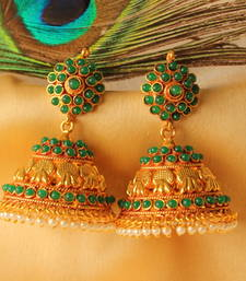 Buy BEAUTIFUL ANTIQUE ROYAL GREEN  DESIGNER  JHUMKKAS jhumka online