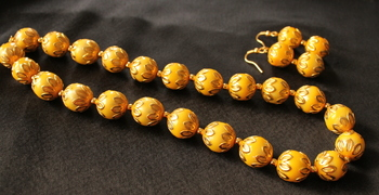 Beautiful Handmade Yellow Meenakari Balls Necklace Set
