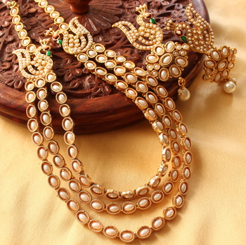 Mesmerising Multilayer Pearl Peacock Necklace Set