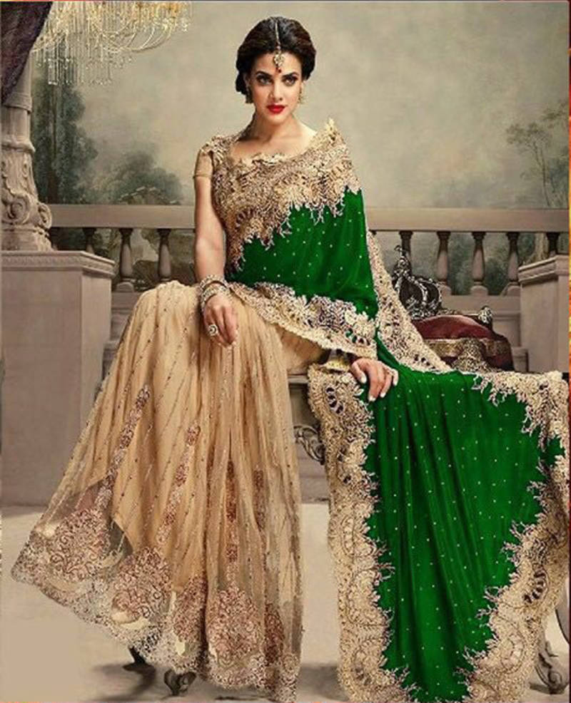 460a935619bc1d Cream and Green embroidered netandvelvet saree with blouse ...