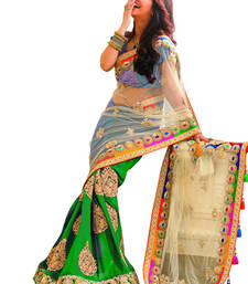 Buy Green+Embroidery Work+Chiffon And Net+Fashion+Saree+With Blouse designer-embroidered-saree online