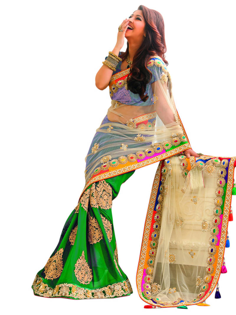 Green Embroidery Work Chiffon And Net Fashion Saree With Blouse Fabaron Enterprise