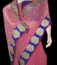 Buy pink lotus chiffon-saree online