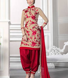 Buy maroon cotton embroidered semi stitiched salwar with dupatta cotton-salwar-kameez online