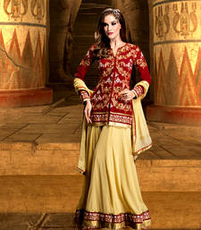 Buy Red georgette embroidered semi stitiched salwar with dupatta sharara online