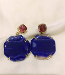 Buy BLUE and RED AGATE danglers-drops danglers-drop online