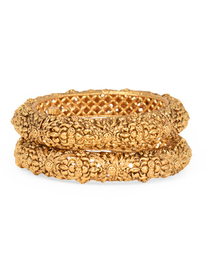 Gold Plated Temple Bangle Set