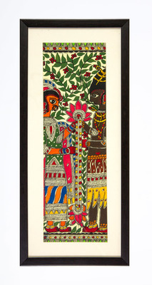 Multicolor handmade paper and  wooden frame  and  acrylic glass  wall art