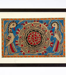 Buy Multicolor handmade paper and  wooden frame  and  acrylic glass  wall art painting online