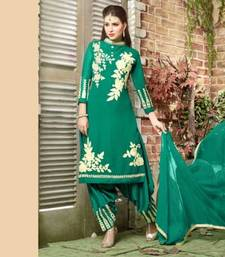 Green georgette embroidered semi stitiched salwar with dupatta