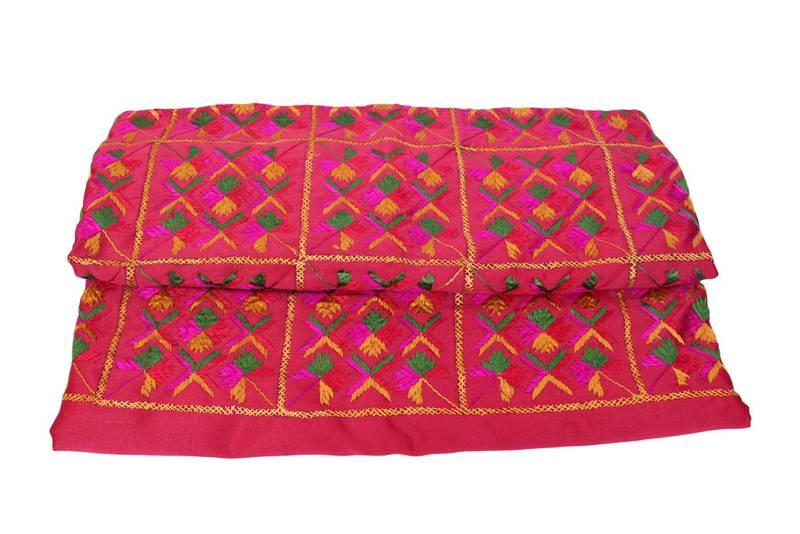 Cotton Vs Linen Curtains: Buy Phulkari Double Bedsheet Bedcover Glaze Cotton Online