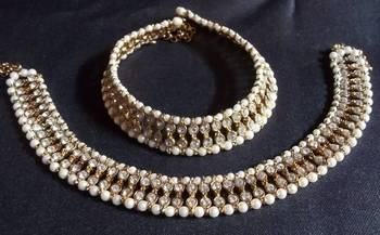 Golden pearl double line anklet