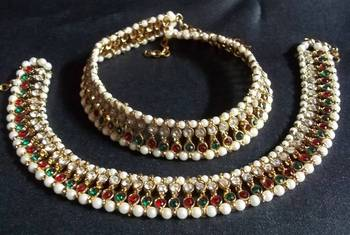 Golden pearl multi colored double anklet