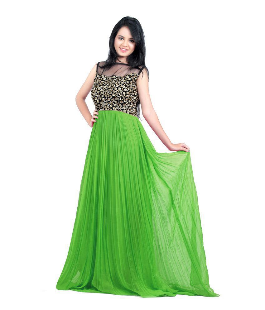 5fb8625e99 GREEN georgette embroidered semi stitched party wear gown - TQF - 920727