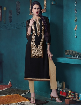 Black Pure Georgette embroidered kurti