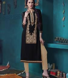 Buy Black Pure Georgette embroidered kurti georgette-kurtis online