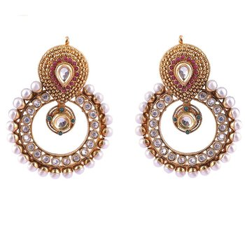 Adwitiya Collection Gold Dotted With Pearls Earrings For Women