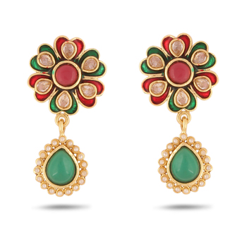 Adwitiya Collection Red Green Meenakari With Pearl Finishing Earrings For Women