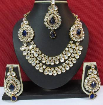 Two Side Brooch Dark Blue stone Wedding Necklace set