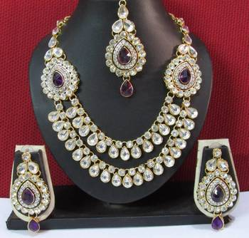 Two Side Brooch Purple stone Wedding Necklace set