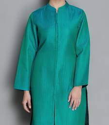 Buy Teal Pure Silk Quilted Jacket heavy-work-kurti online