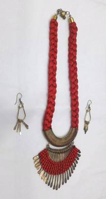 Golden Red Fishtail thread fancy necklace set