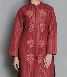 Buy Maroon Pure Silk Quilted and Embroidered Jacket heavy-work-kurtis online
