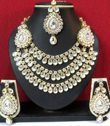 Buy Two Side Brooch 3 line stone Wedding Necklace Set necklace-set online