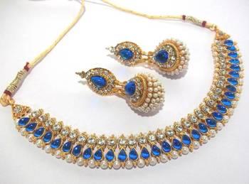 Dark blue pearl gota neckalace set