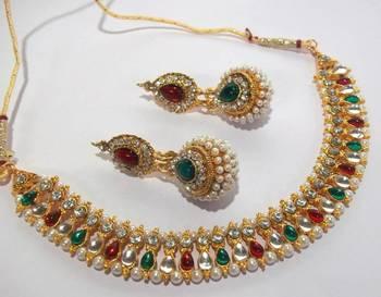 Multi color pearl gota necklace set