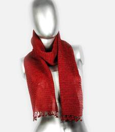 Buy Silky Crochet Stole | Maroon stole-and-dupatta online