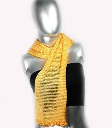 Buy Silky Crochet Stole | Orange stole-and-dupatta online