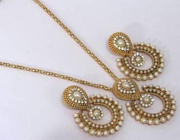 Pearl Polki Chain Necklace Set