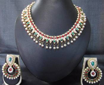 Maroon green pearl polki necklace set SMCN48