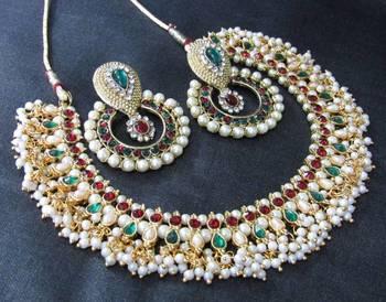 Maroon Green pearl dulhan polki necklace set