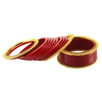 Extra Large Size  Brass & Acrylic Bangles Color Red