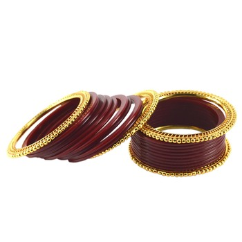 Extra Large Size  Brass & Acrylic Bangles Color Maroon