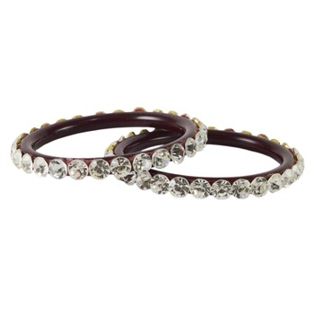 Extra Large Size  Brass & Acrylic Bangles Color Dark Maroon