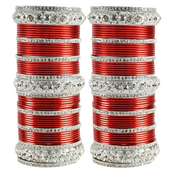 Extra Large Size  Brass & Metal Bangles Color White & Red