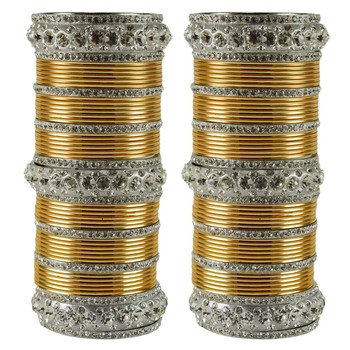 Extra Large Size  Brass & Metal Bangles Color White & Golden