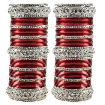 Extra Large Size  Brass & Metal Bangles Color Maroon & White