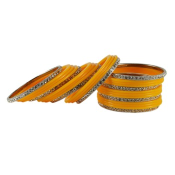 Extra Large Size  Brass & Acrylic Bangles Color Yellow