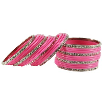 Extra Large Size  Brass & Acrylic Bangles Color Pink