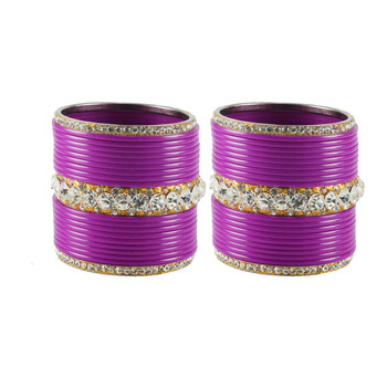 Extra Large Size  Brass & Acrylic Bangles Color Purple